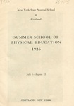 1926 Physical Education Catalog by State University of New York College at Cortland