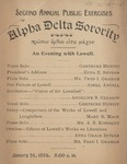 Alpha Delta, 2nd Annual Public Exercise, 1895