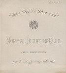 Normal Debate Club, Program by State University of New York at Cortland