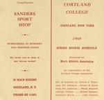 1960 Spring Athletic Schedule by State University of New York College at Cortland