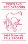 1994 Fall Athletic Schedule by State University of New York College at Cortland